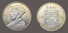 Fiji 1934 Florin, Rare High Grade, High Grade AU, Luster, Sharp, Low Mtg 200,000