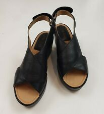 Me Too Womens Black Cross Strap Leather Sandals Wedges Shoes SZ 7 M