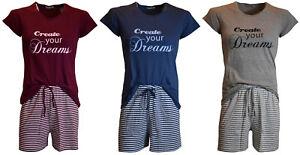 Damen Shorty Schlafanzug Pyjama Nachtwäsche, 3 Farben, Rundhalsausschnitt