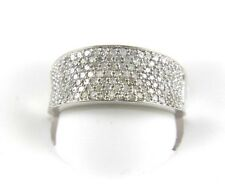 Fine Wide Pave Cluster Diamond Lady's Fashion Ring Band 14k White Gold 1.25Ct