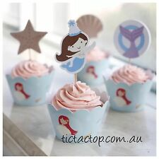 12 pcs Ocean Sea Mermaid Cupcake Toppers + Wrappers. Party Jelly Cup Shell Crab