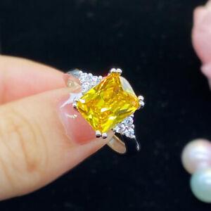 Luxury Womens Yellow Cubic Zirconia 925 Silver Rings Wedding Adjustable Jewelry