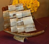 BEAUTIFUL Vintage Sailing Ship Carved from Horn Bone -Made in Italy