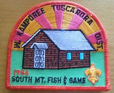 1986 Boy Scout Camporee Patch W Kamporee Tuscarora Dist South Mountain Fish Game