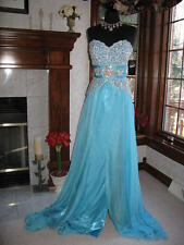 Prima Donna 5583 Aqua Blue Sparkling Pageant Gown Dress 6