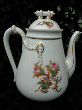 ANTIQUE 19C. HAVILAND & Co LIMOGES H&Co MOSS ROSE TEAPOT W. GOLD TRIM & ROPE 9""