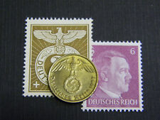 XX-RARE 1937-1939 WW2 German 5 Reichspfennig Coin & A.H. Stamp LOT