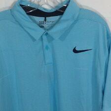 NIKE Golf Mens Dri-Fit Polo Shirt XXL Blue Stripe Polyester Standard Fit 2XL NEW