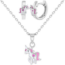 925 Sterling Silver Pink & White Unicorn Jewelry Set Earrings Necklace for