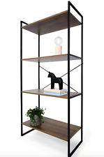 Industrial 4 Tier Bookshelf Scandi Style Shelf Display Cabinet Home Organiser