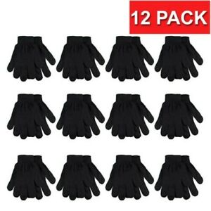 12 Pack Bulk Unisex Insulated Medium Gloves Knit Winter Lot Wholesale Warm Cold