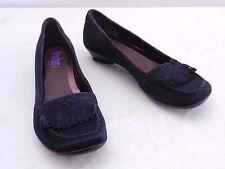 INDIGO by CLARKS Womens 8 Blue Suede Moc Toe Fringe Detail Pumps Heels Shoes