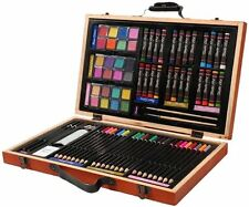 80 Pcs Artist Kit Sketch Drawing Art Set Painting Color Pencil Pastel Wood Case