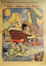 Plakat zur Ausstellung von Lyonel Feilinger 1981/82: KARRIKATUREN, COMICS,ILLUST