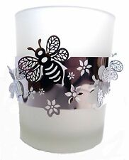 FROSTED GLASS T-LIGHT HOLDER WITH SILVER BAND OF BEES