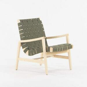 2021 Jens Risom for Knoll Lounge Chair with Arms in Maple Frame & Khaki Webbing
