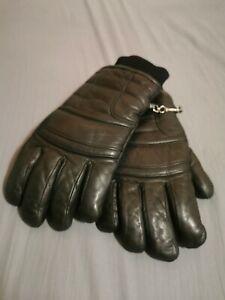 LL BEAN Vintage 90's Men's Thick Black Leather Winter Gloves Size Medium