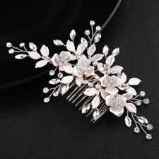Rose Gold Leaf Clips Bridal Crystal Jewelry Comb Hairpins Hair Accessories