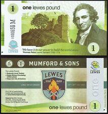 """Inghilterra/Lewes - £ 1 BANCONOTA, edizione limitata per il """"Mumford e sons"""" CONCERTO"""