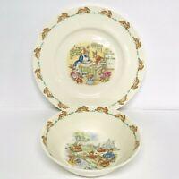Vintage Royal Doulton Bunnykins Child Plate Baking Scene 8 Inch Fine Bone China