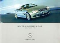 3061MB Mercedes SL Preisliste 2005 4.4.05 price list SL500