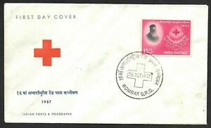 India International Red Cross Conference Stamp Cachet FDC First Day Cover 1957