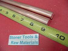 2 Pieces 12 C110 Copper Round Rod 9 Long H04 Solid Cu New Lathe Bar Stock