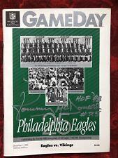 1985 Eagles vs Vikings Program Signed by Tommy McDonald 12-1-1985 Deceased HOF