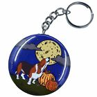 Basset Hound Dog Howling at the Moon Keychain Halloween Key Ring Accessories