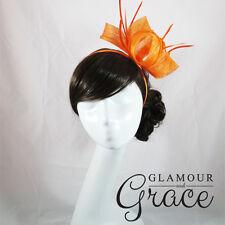 Azalea Orange Fascinator Hatinator Headpiece Headband Races Melbourne Cup Hat