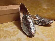 Stupende Scarpe Donna PRADA In Paillettes Argento N. 38 Con Scatola Originale