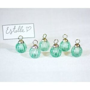Luna Bazaar Mini Glass Bauble Place Card Holders (1.25-Inch, Turquoise Blue, Set