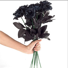 10 Pcs Artificial Flowers Black Roses Bouquets Real Looking Fake Halloween Decor