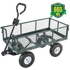 Heavy Duty Utility Wheelbarrow Wagon Cart Lawn Dump Trailer Yard Garden Steel