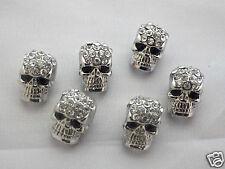 10 x cristal pave en Alliage de Zinc Crâne Métal Perles avec Strass