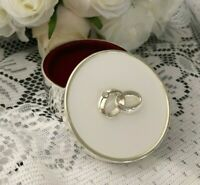WEDDING RING BOX ROUND SILVER PLATE LINKED RINGS JEWELLERY TRINKET PROPOSAL