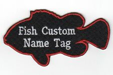 """Custom Fish Name Tag Embroidery Sew on Patch 4"""" x 2"""""""
