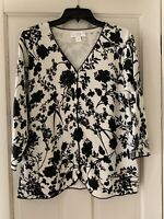 CJ Banks 1X Classic 3/4 Slv Cotton Blend Sweater Black White Shadow Print Mint!