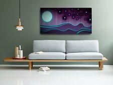 Purple Blue Sea Scenic Landscape Tree Moon Print Canvas Art Abstract Picture Big