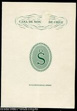 CHILE 1960 OFFICIAL NEW YEARS CARD WITH DIE PROOF OF STAMP--FRONT COVER DAMAGED
