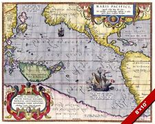 16th Century Map of Pacific Ocean  Boys Room CANVAS GICLEE 8X10 ART PRINT