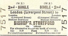 B.T.C. Edmondson Ticket - London Liverpool Street to Bishop's Stortford