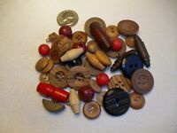 WOODEN SEWING BUTTONS Vintage lot matched sets, singles