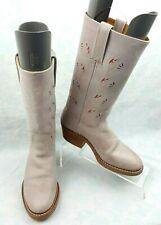 Frye Austin Pink Leather Cut-Out Floral Cowboy Western Boots Women's Size 6.5M