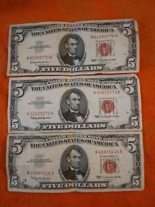 1953 Series A $5 Bills Red Stamp lot (3)