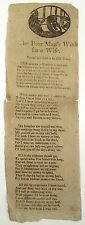 SCARCE BROADSIDE BALLAD The Poor Man's Wish For A Wife POETRY Woodcut Circa 1800
