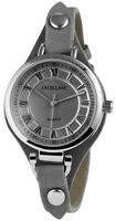 Damenuhr Grau Silber Analog Quarz Metall Leder Armbanduhr D-100000300022500