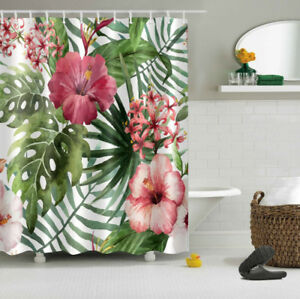 Tropical Leaves Red Flower Waterproof Fabric Bathroom Mat Shower Curtain Liner