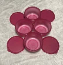 NEW TUPPERWARE SET OF 4 PINK SERVING CENTER BOWLS REHEATABLE 14 Oz 1 3/4 CUP