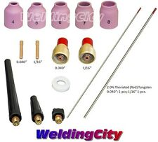 "TIG Welding Torch 9/20 Kit Gas Lens-Tungsten (Red) .040""-1/16"" T49A 